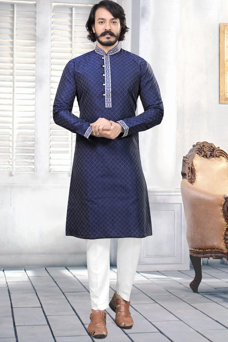 Function Wear Fancy Kurta Pyjama In Navy Blue Color For Men