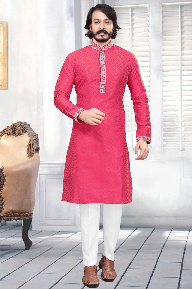 Jacquard Fabric Rani Color Function Wear Kurta Pyjama