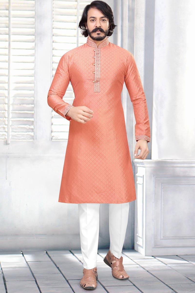 Sangeet Wear Jacquard Fabric Kurta Pyjama For Men