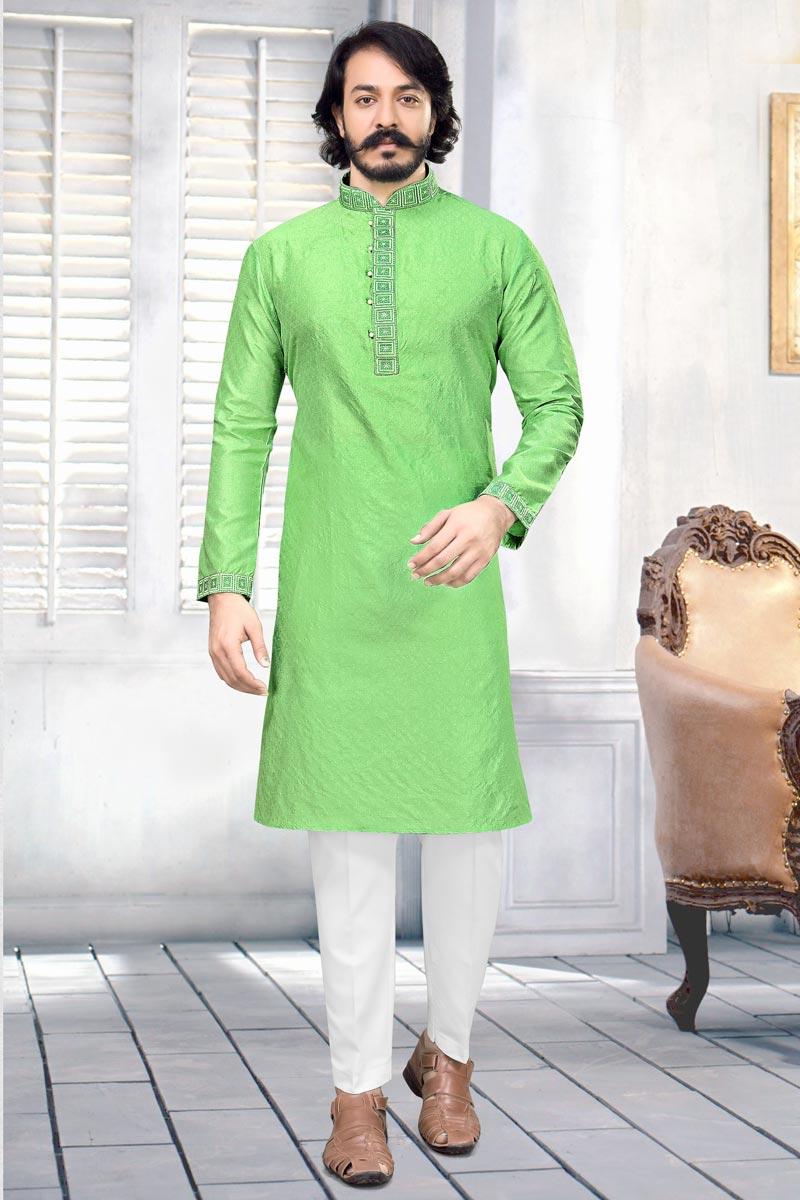 Jacquard Fabric Sea Green Color Function Wear Kurta Pyjama