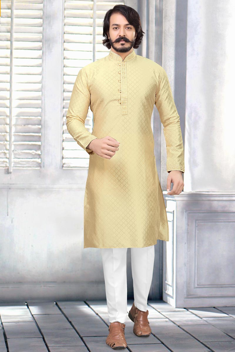 Mens Function Wear Jacquard Fabric Beige Color Kurta Pyjama