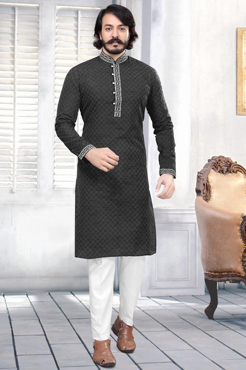 Function Wear Jacquard Fabric Kurta Pyjama In Black Color For Men