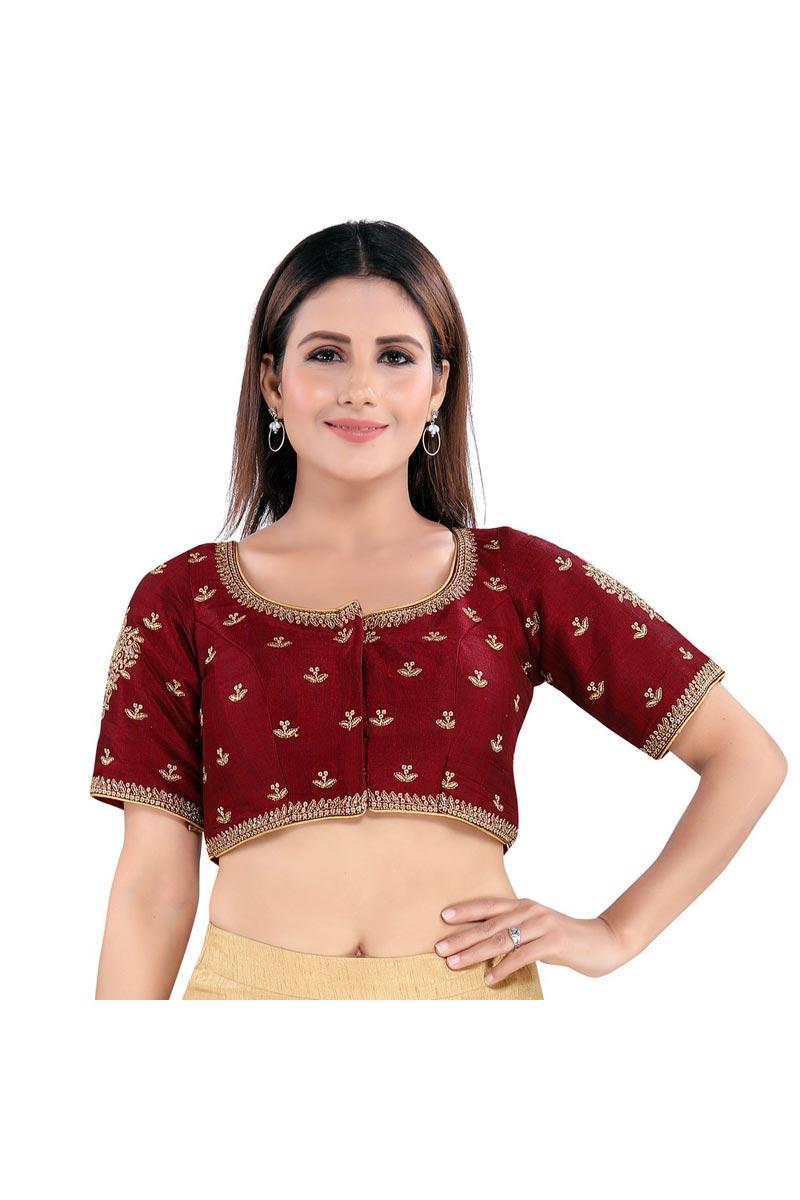 Festive Wear Trendy Maroon Color Readymade Blouse In Art Silk Fabric