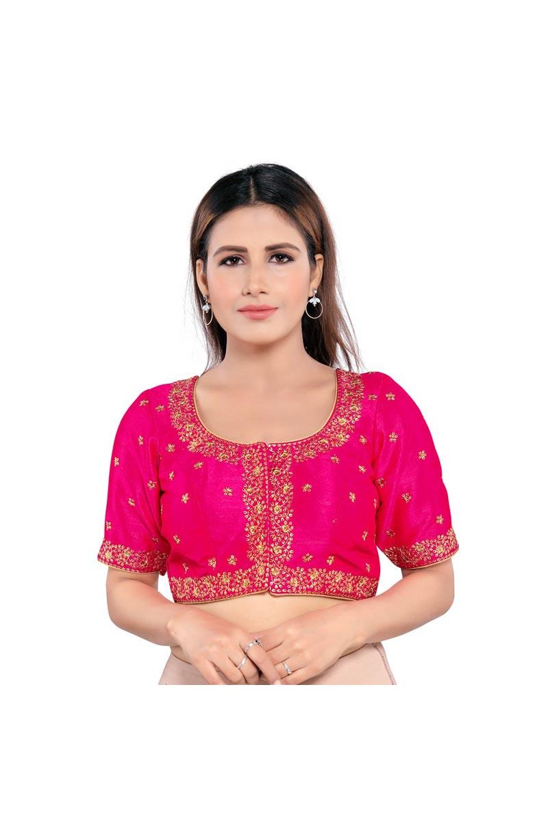 Art Silk Fabric Festive Wear Trendy Rani Color Readymade Blouse