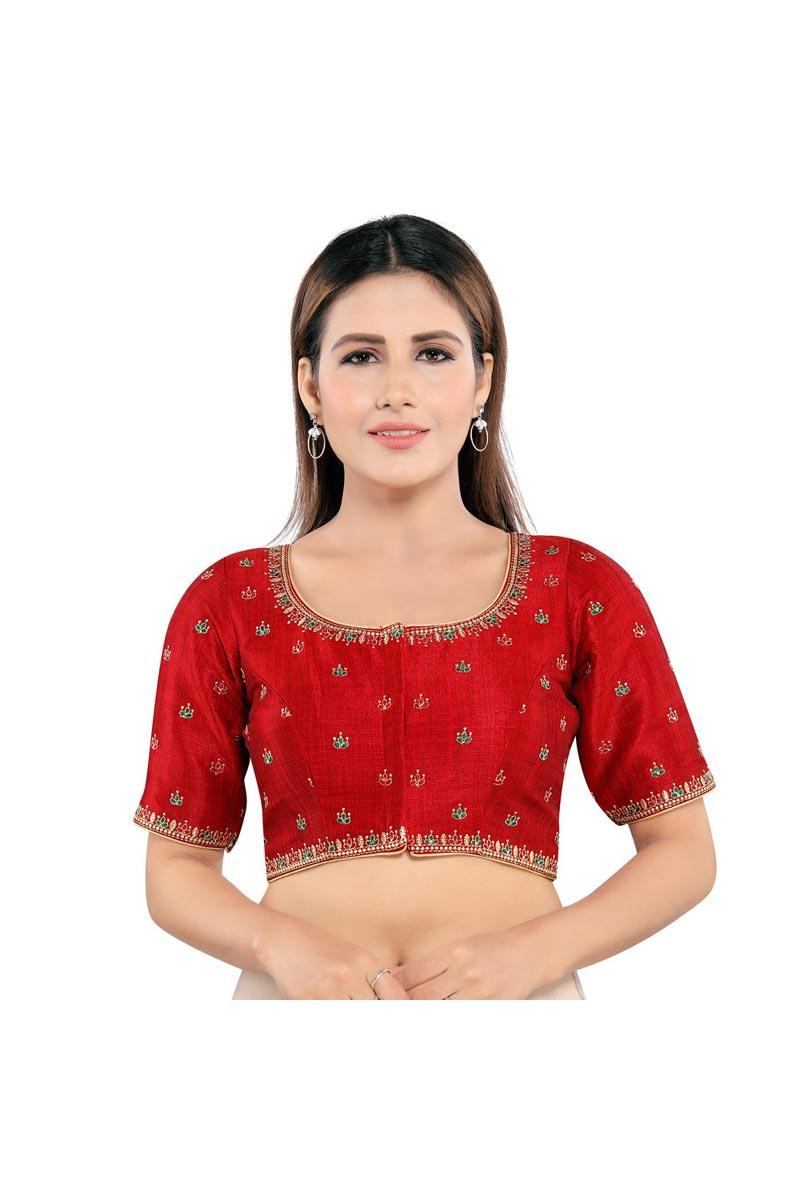 Red Color Trendy Art Silk Fabric Festive Wear Readymade Blouse