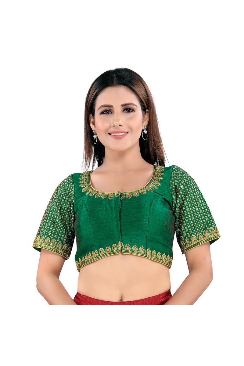 Trendy Green Color Festive Wear Readymade Blouse In Art Silk Fabric