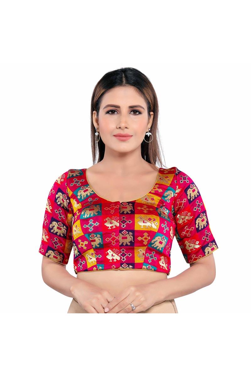 Festive Wear Trendy Brocade Fabric Readymade Blouse In Rani Color