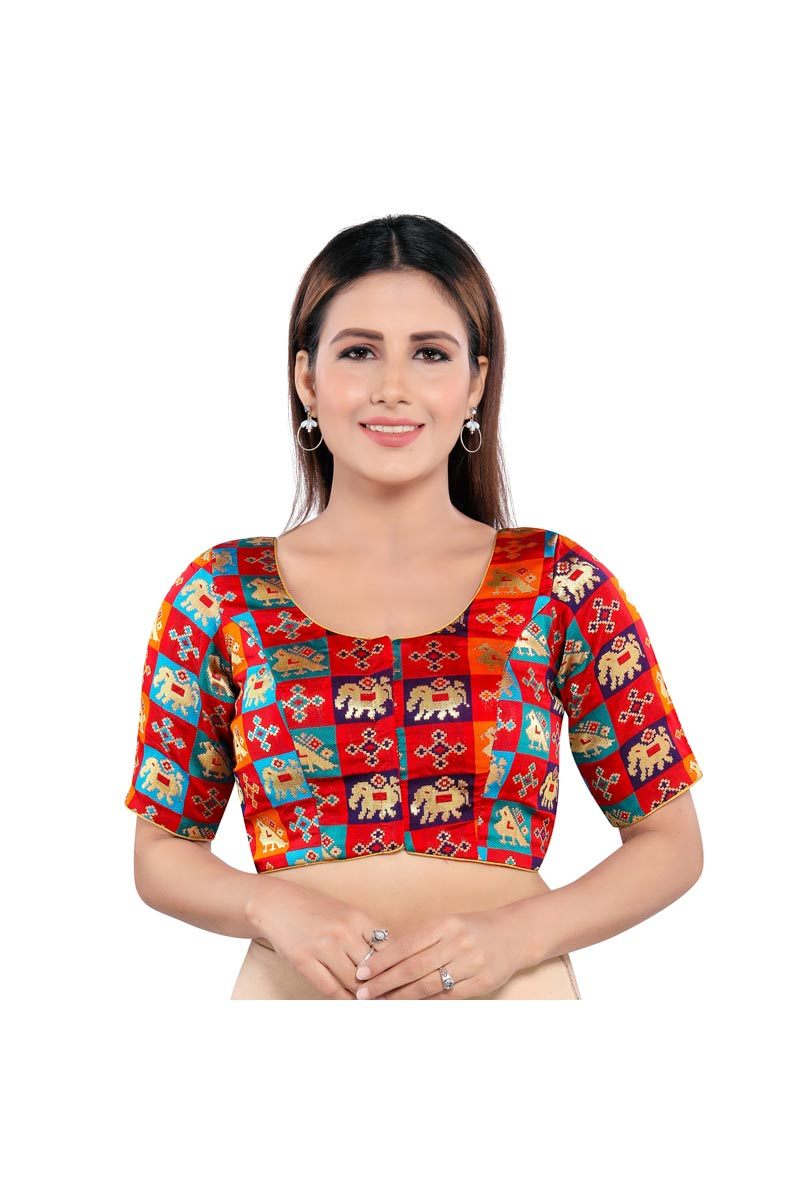 Red Color Festive Wear Trendy Brocade Fabric Readymade Blouse