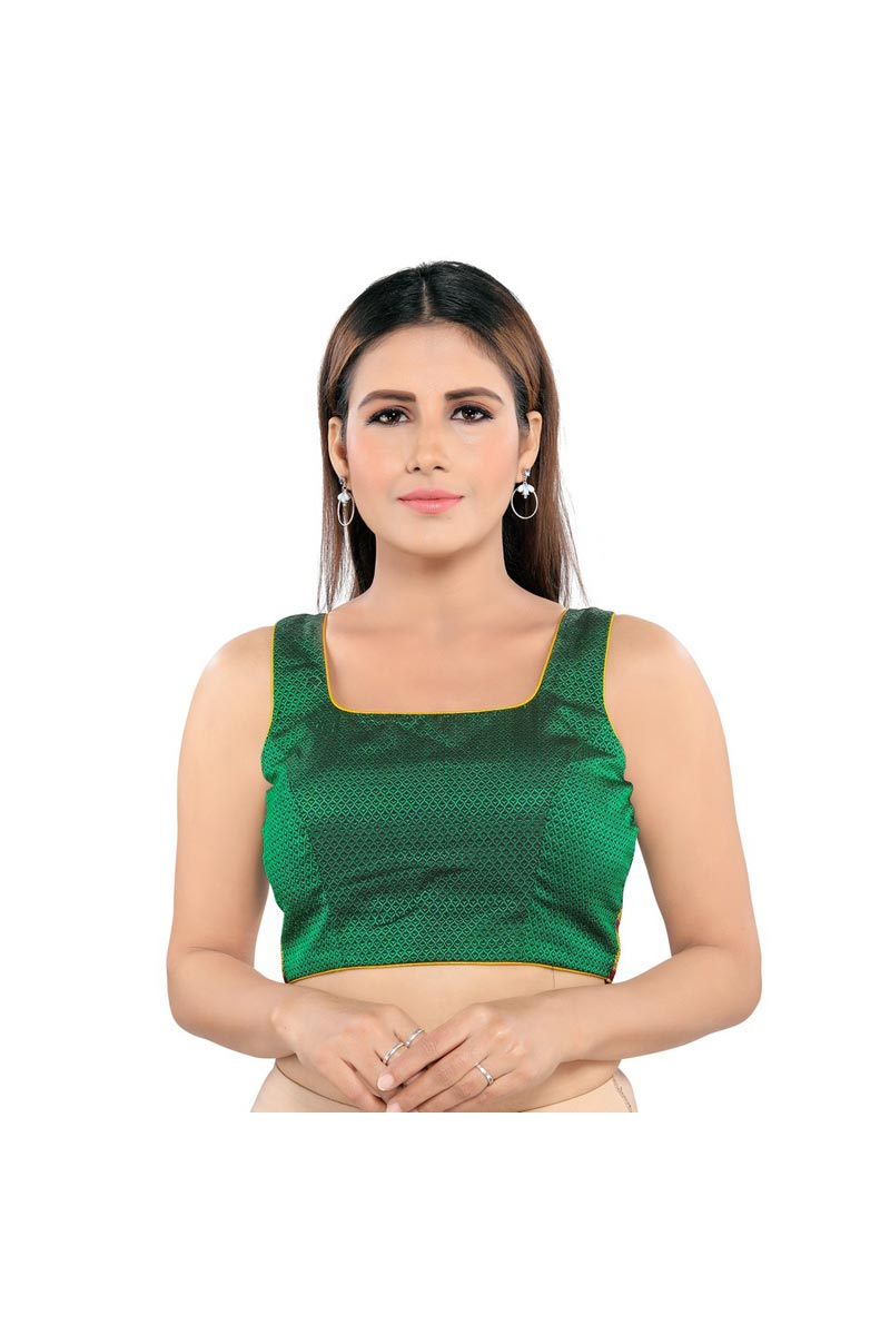 Festive Wear Green Color Trendy Polyester Fabric Readymade Blouse