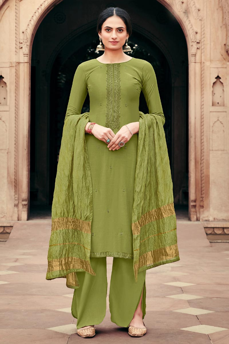 Viscose Fabric Festive Wear Green Color Alluring Embroidered Palazzo Suit