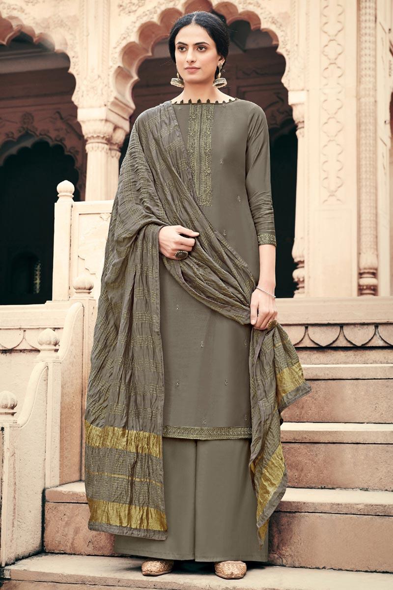 Viscose Fabric Festive Wear Alluring Embroidered Palazzo Dress In Dark Beige Color