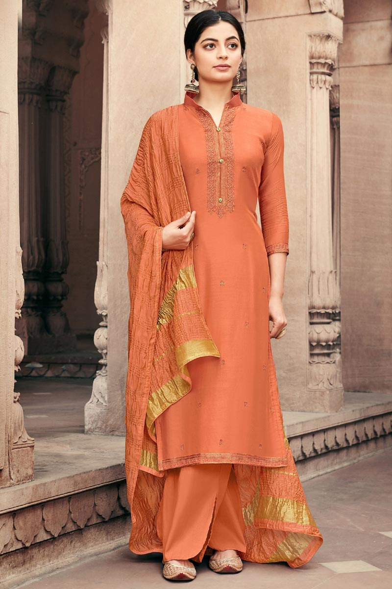 Festive Wear Viscose Fabric Orange Color Alluring Embroidered Palazzo Suit
