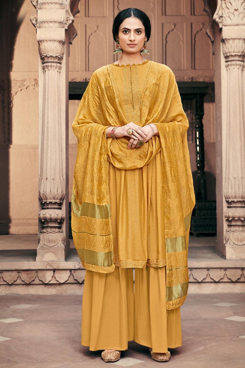 Viscose Fabric Festive Wear Alluring Embroidered Mustard Color Palazzo Dress