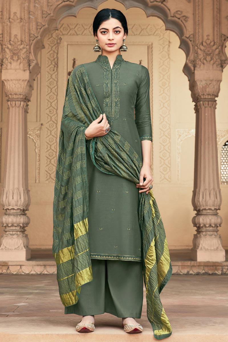 Mehendi Green Color Festive Wear Viscose Fabric Alluring Embroidered Palazzo Suit