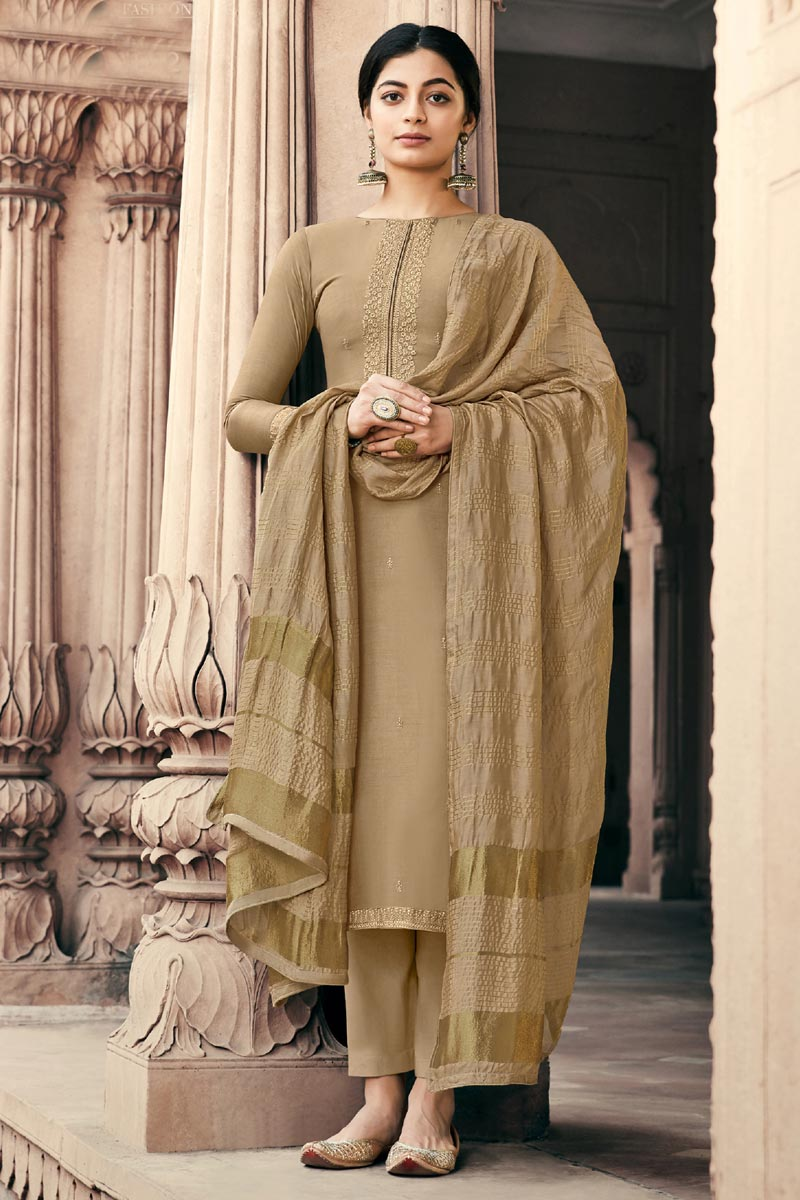 Viscose Fabric Beige Color Festive Wear Alluring Embroidered Palazzo Dress
