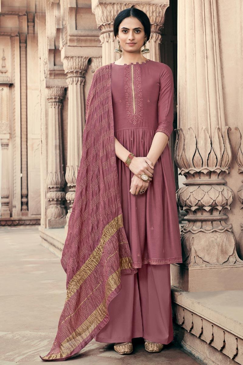 Wine Color Festive Wear Alluring Embroidered Palazzo Dress In Viscose Fabric