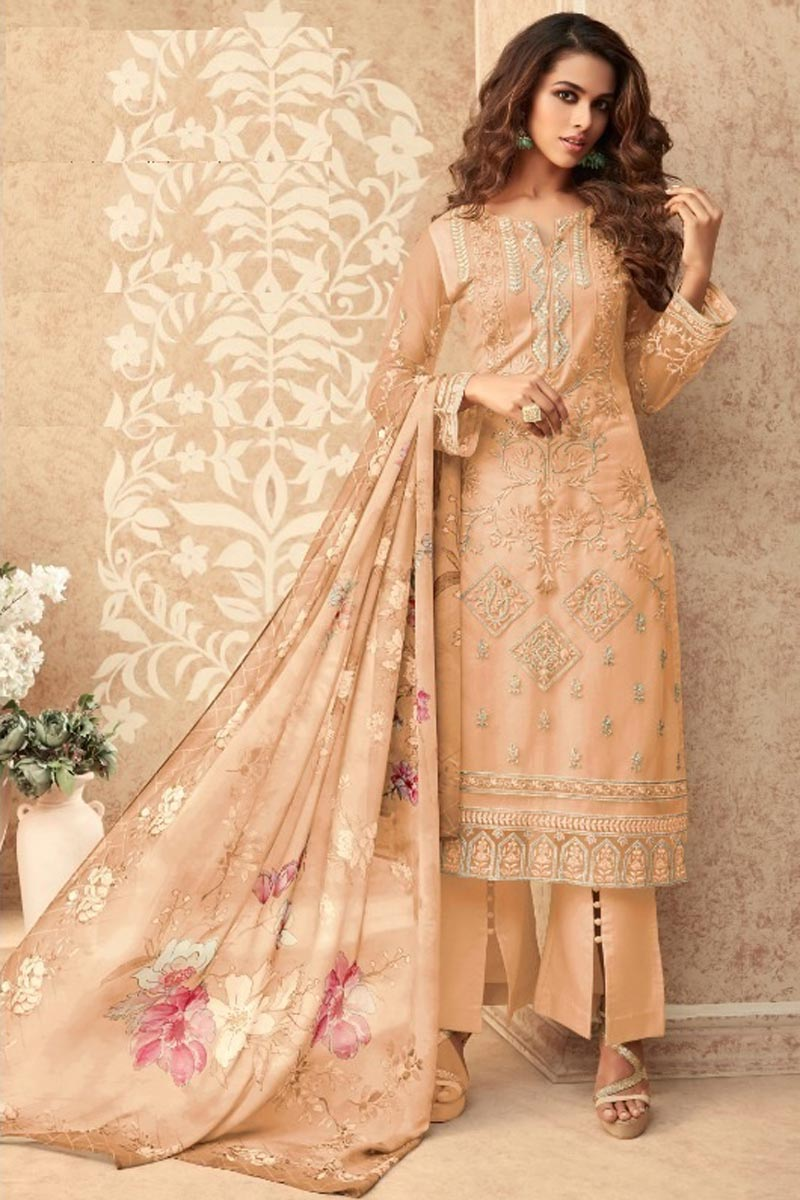 Net Fabric Party Style Orange Color Stylish Embroidered Palazzo Suit