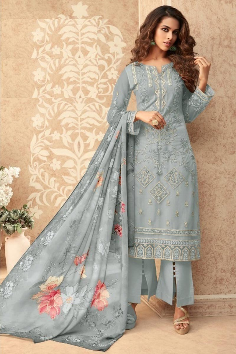 Net Fabric Party Style Stylish Embroidered Palazzo Dress In Grey Color