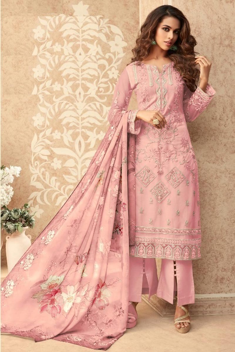 Party Style Net Fabric Pink Color Stylish Embroidered Palazzo Suit