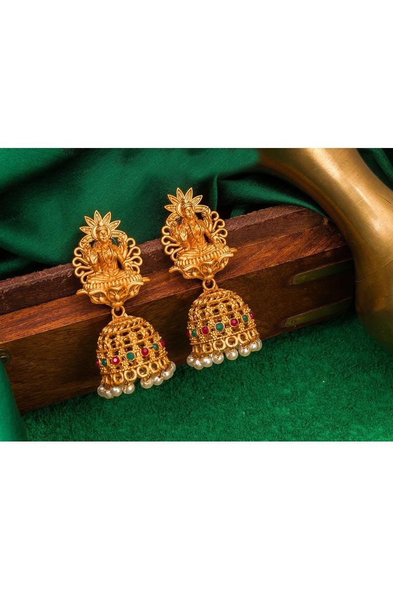 Golden Color Alloy Metal Wedding Wear Designer Earrings