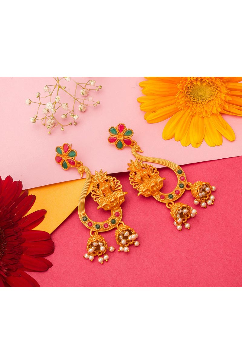 Alloy Metal Golden Color Function Wear Gold Plated Earrings
