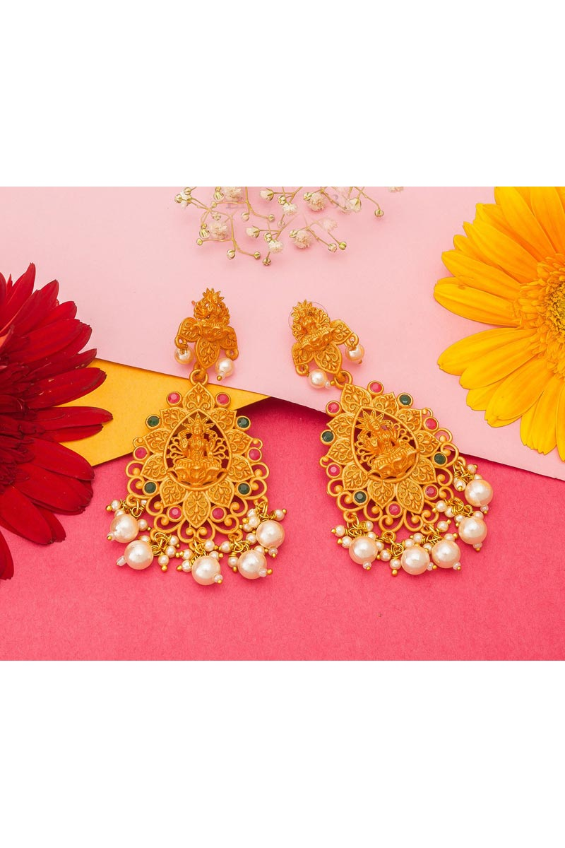 Alloy Metal Golden Color Festive Wear Fancy Gold Plated Earrings