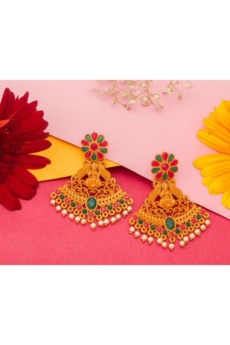 Alloy Metal Golden Color Party Wear Trendy Gold Plated Earrings