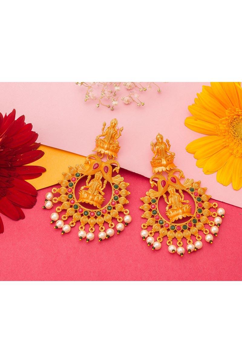 Alloy Metal Golden Color Wedding Wear Designer Gold Plated Earrings