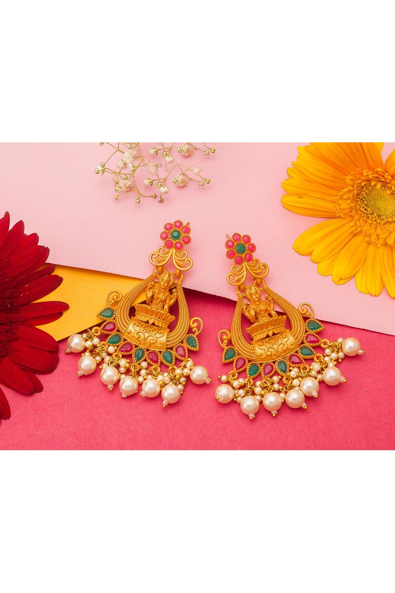 Alloy Metal Golden Color Reception Wear Gold Plated Earrings