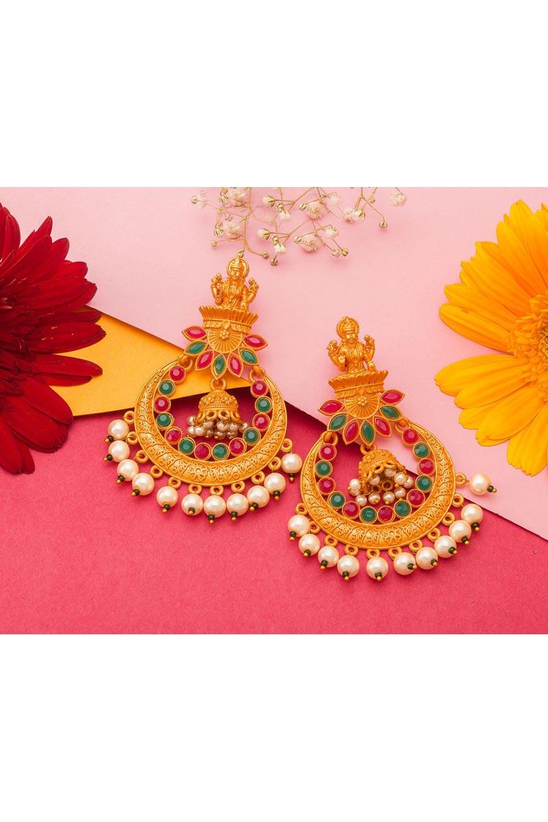 Alloy Metal Golden Festive Wear Fancy Gold Plated Earrings