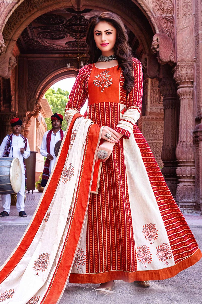 Fancy Function Wear Red Color Cotton Fabric Long Kurti With Dupatta