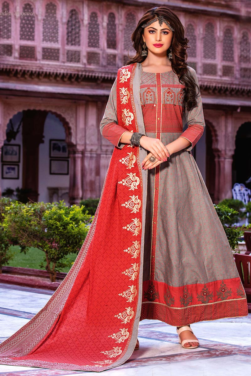 Grey Color Festive Wear Long Kurti With Dupatta In Cotton Fabric