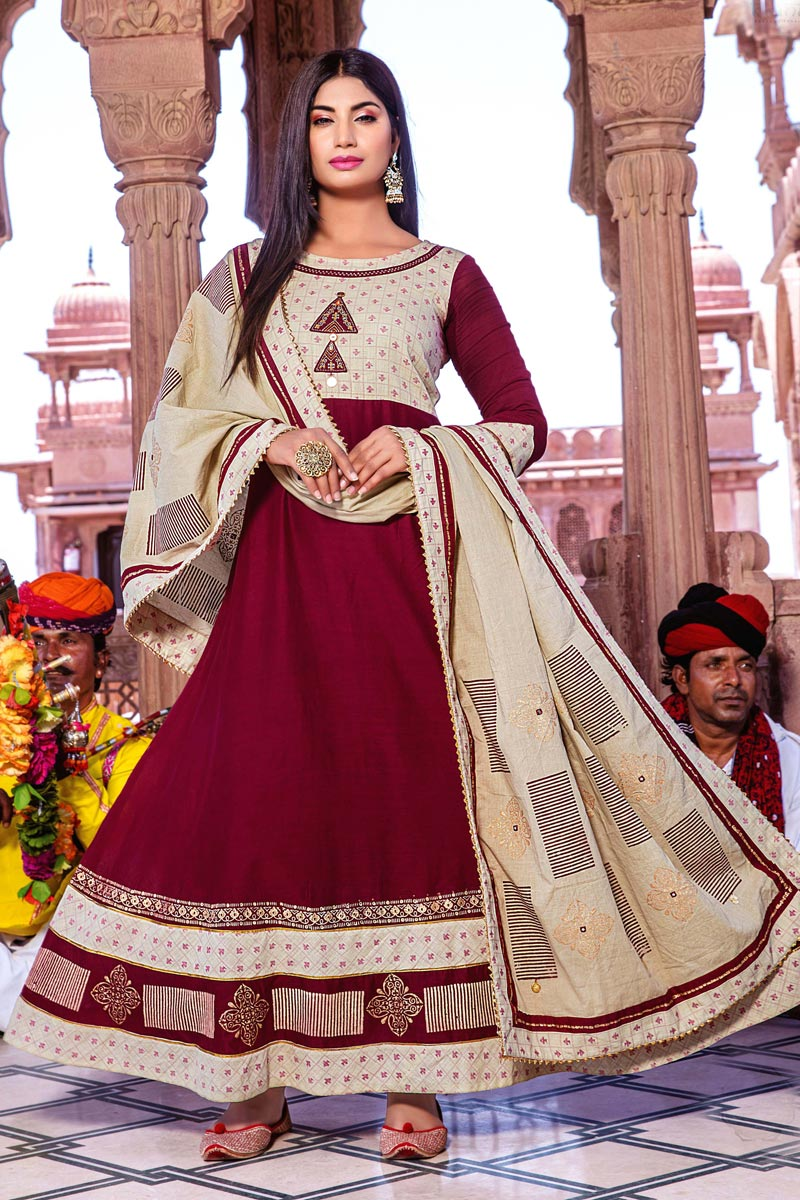 Cotton Fabric Maroon Color Party Wear Simple Long Kurti With Dupatta