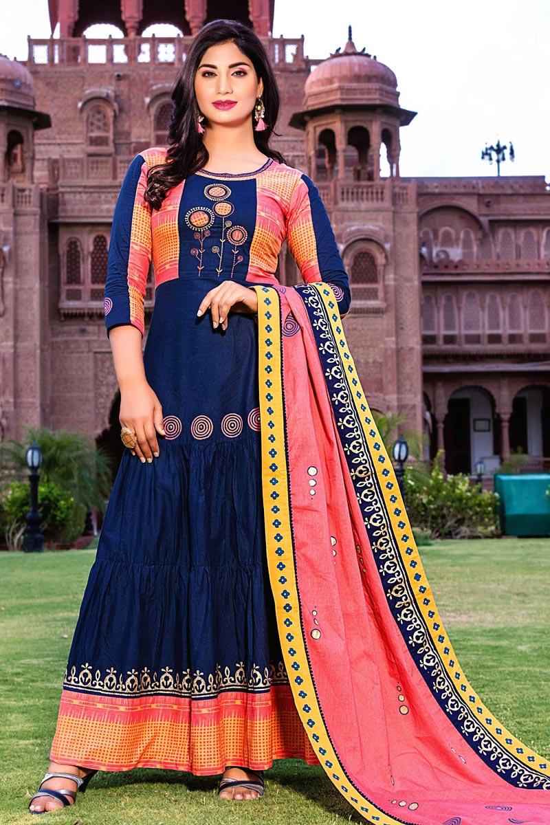 Cotton Fabric Fancy Office Wear Long Kurti With Dupatta In Blue Color