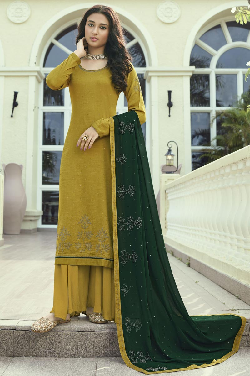 Yellow Color Regular Wear Art Silk Fabric Stone Work Palazzo Dress