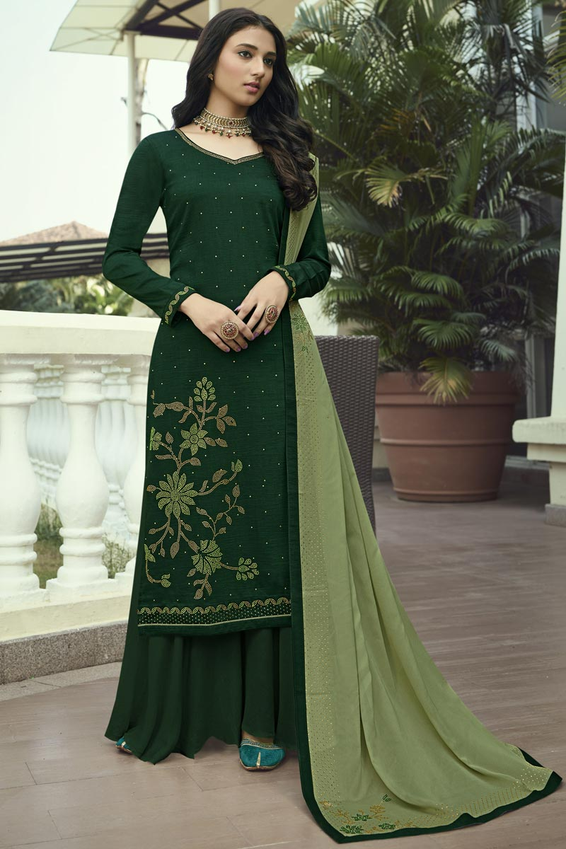 Art Silk Fabric Regular Wear Dark Green Color Stone Work Palazzo Suit