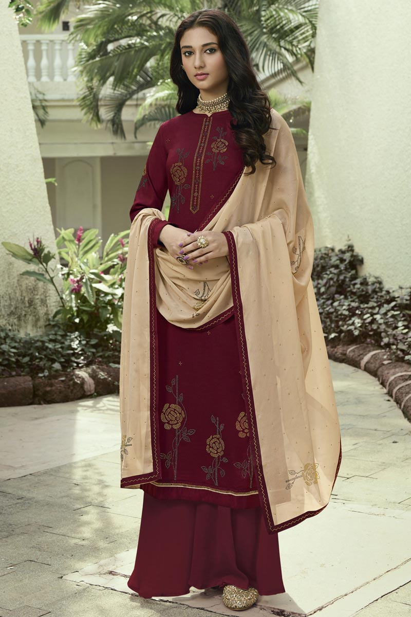 Maroon Color Art Silk Fabric Regular Wear Stone Work Palazzo Dress