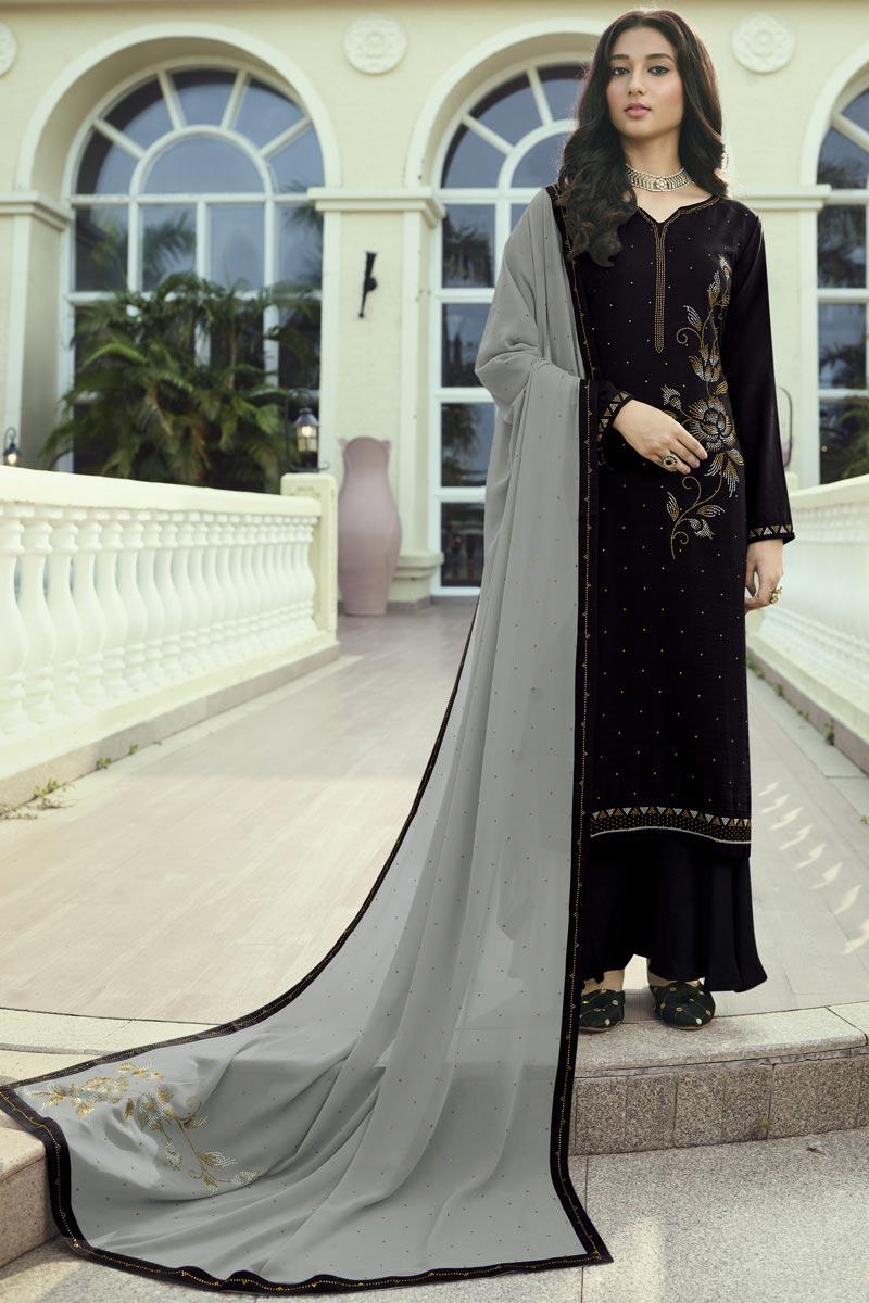 Regular Wear Art Silk Fabric Black Color Stone Work Palazzo Suit