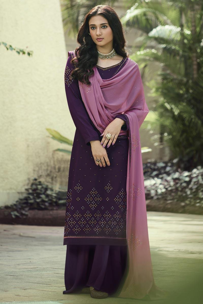 Art Silk Fabric Regular Wear Stone Work Purple Color Palazzo Dress