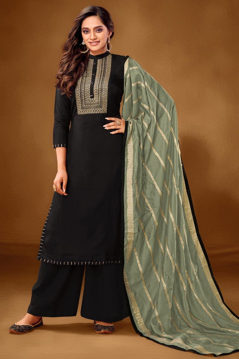 Cotton Fabric Party Wear Palazzo Salwar Kameez