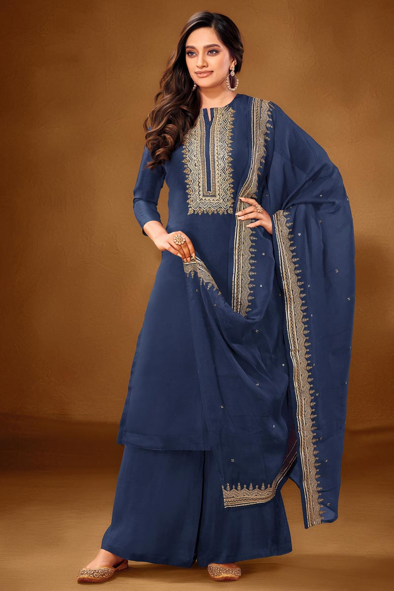Occasion Wear Blue Color Embroidered Palazzo Salwar Kameez