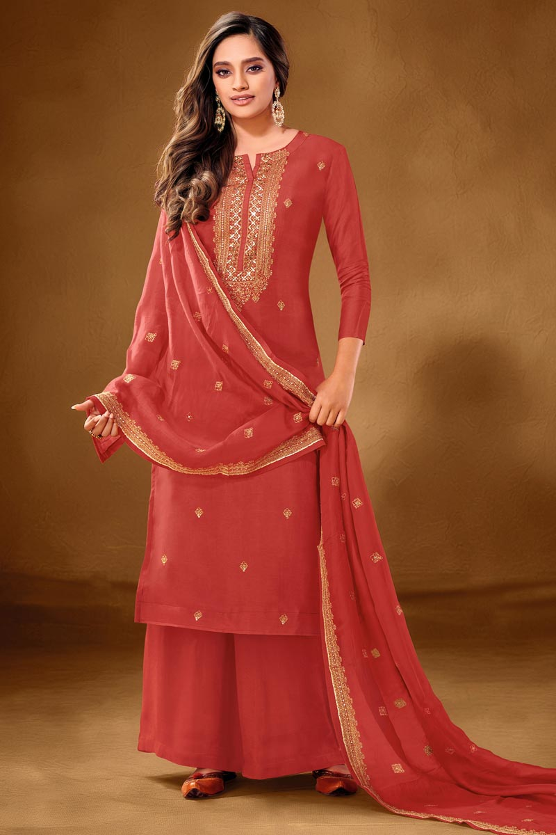 Embroidery Work Rust Color Cotton Fabric Palazzo Salwar Suit