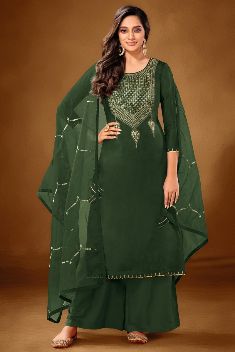 Cotton Fabric Dark Green Color Palazzo Suit
