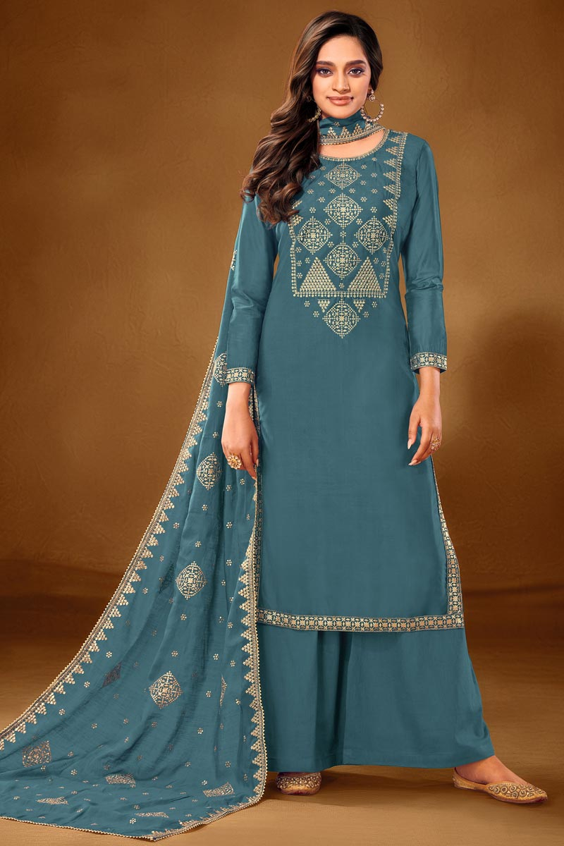 Sky Blue Color Embroidered Cotton Fabric Party Wear Palazzo Salwar Kameez
