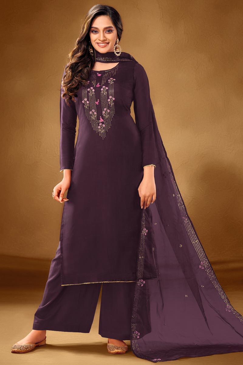 Embroidery Designs Purple Color Cotton Fabric Function Wear Palazzo Salwar Suit