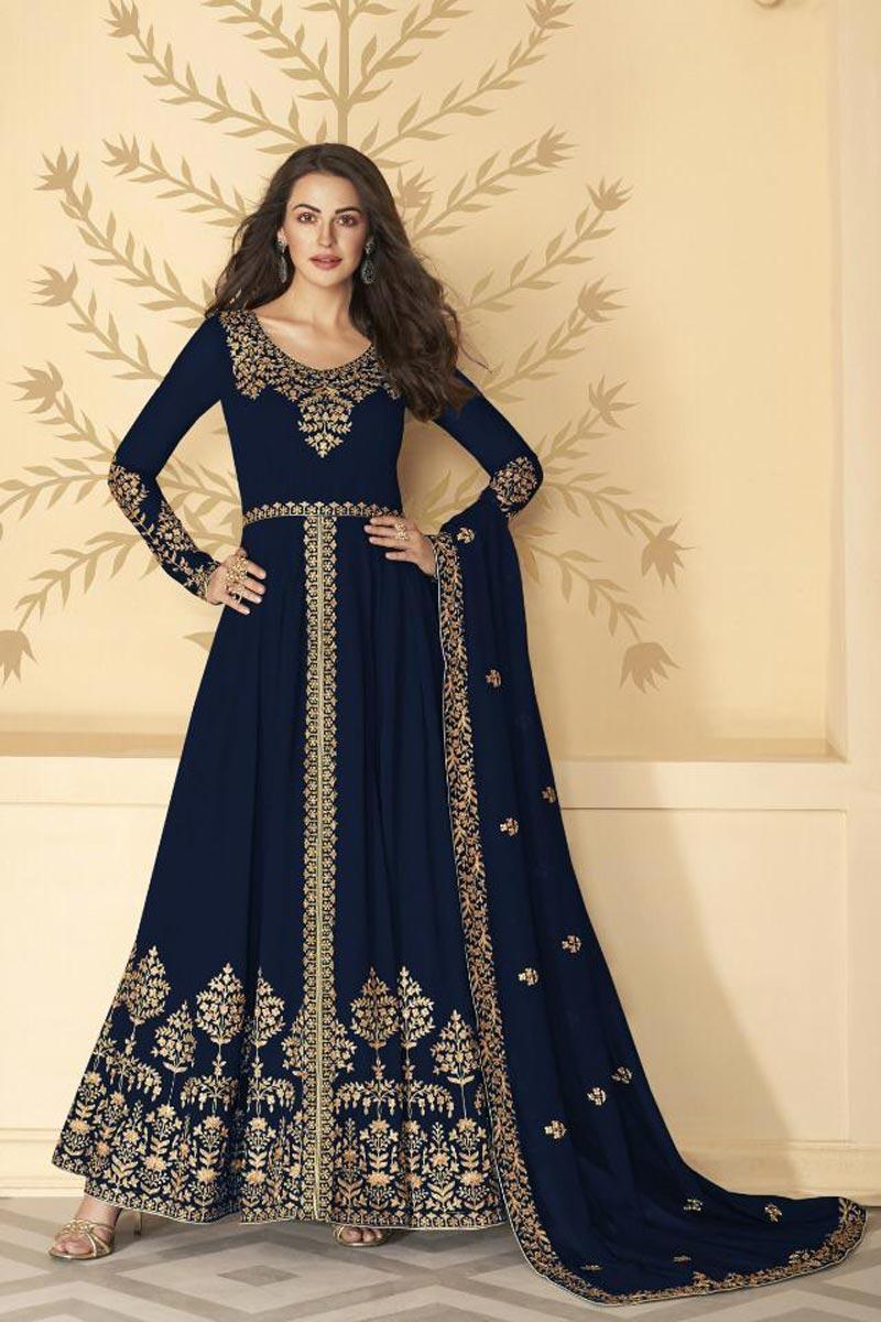 Festive Wear Navy Blue Color Georgette Fabric Embroidered Long Length Anarkali Suit