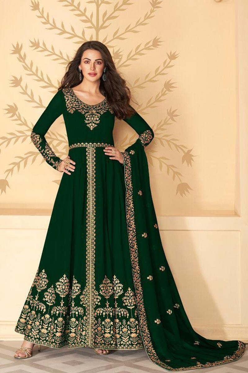 Festive Wear Embroidered Floor Length Dark Green Color Anarkali Dress In Georgette Fabric
