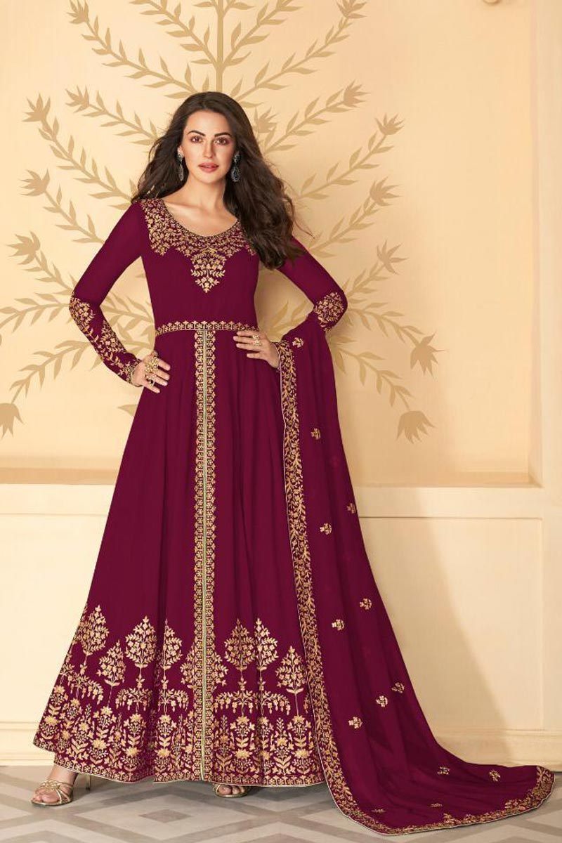 Festive Wear Maroon Color Long Length Georgette Fabric Embroidered Anarkali Suit