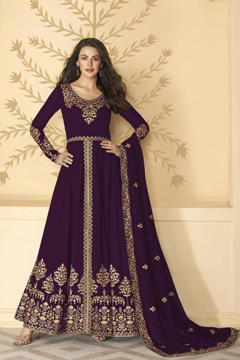 Festive Wear Embroidered Wine Color Floor Length Anarkali Dress In Georgette Fabric