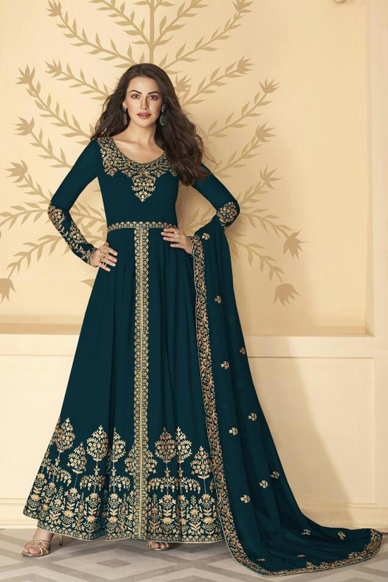 Georgette Fabric Festive Wear Teal Color Long Length Embroidered Anarkali Suit